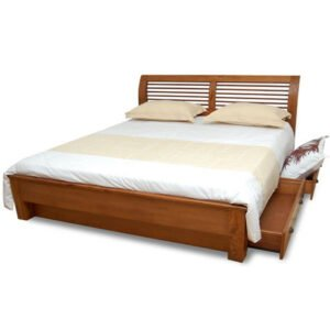 teak wood bed with drawers