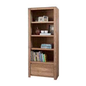 teak wood bookcase with drawer