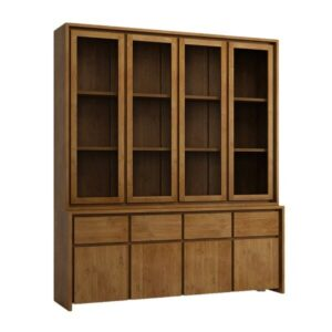 The compact construction of this teak wood display cabinet makes it perfect for small kitchens, dining rooms