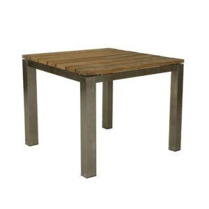 teak stainless steel square dining table