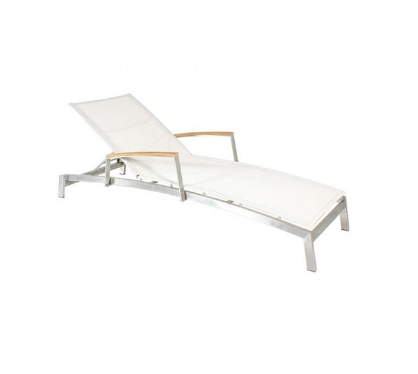stainless steel batyline sling curved lounger