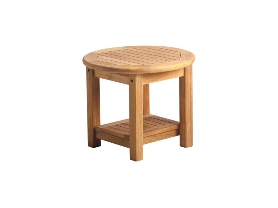 teak round side table with shelf