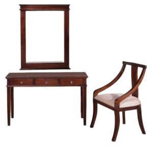Teak wood dressing table with mirror and chair