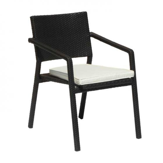 Wicker dining arm chair