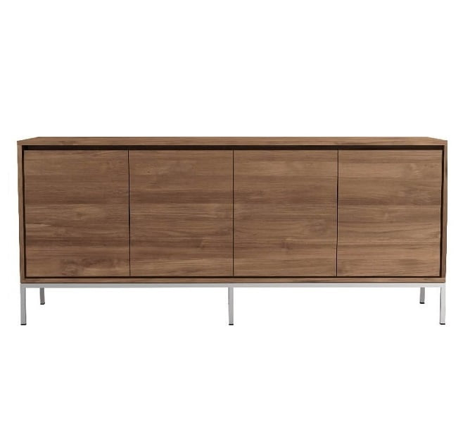 Teak sideboard buffet with stainless steel base