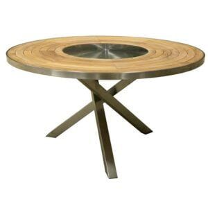 teak stainless steel round dining table