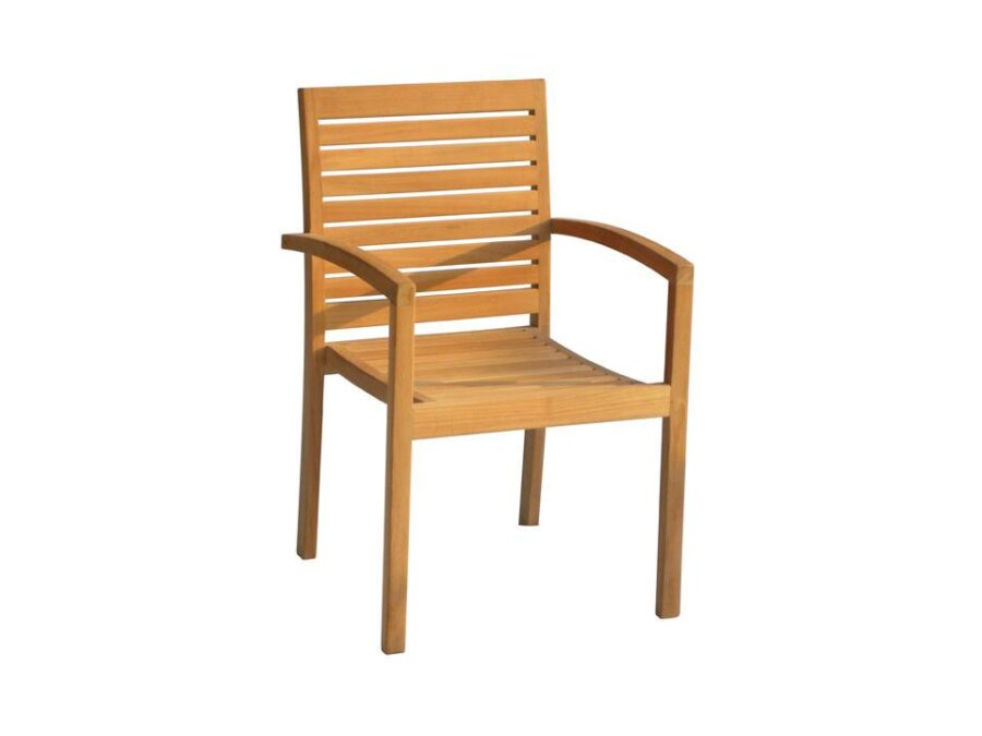 trent teak wood stacking arm chair