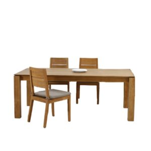 teak slice dining set for modern living