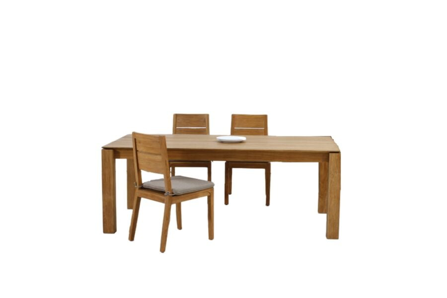 teak slice dining table and chairs