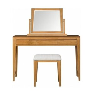 elegant teak dresser table, mirror and stool