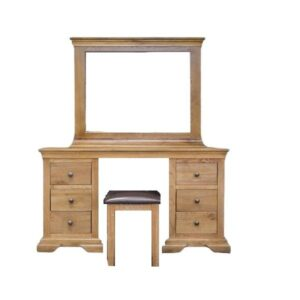 teak wood dresser set featuring 6 drawers and a stool