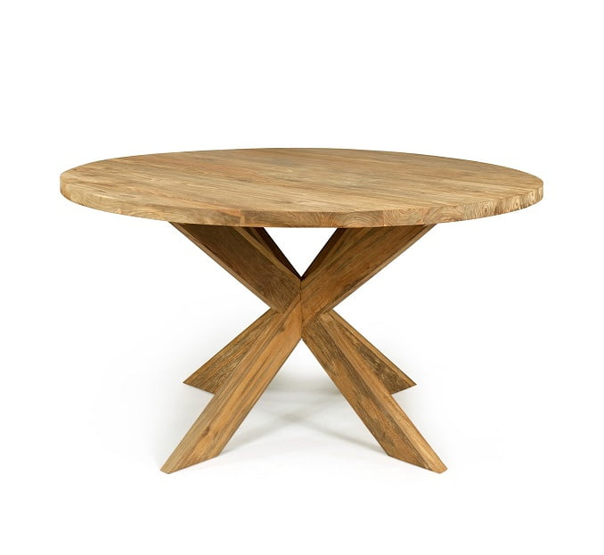 recycled teak round dining table