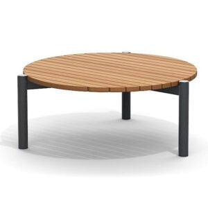 teak low round outdoor coffee table
