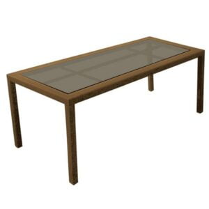 wicker glass top dining table