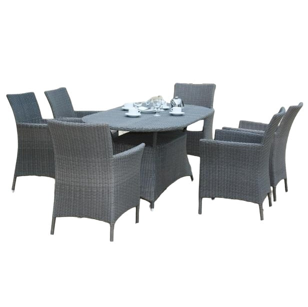 wicker oval table and trinity chair set
